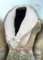 Меховой воротник из белой норки купить Москва фото