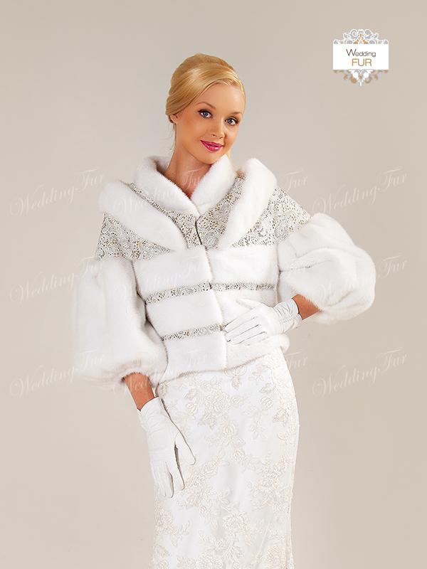 Купить свадбную белую шубку из норки