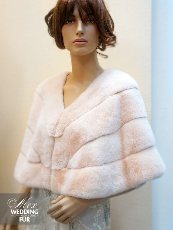 Норковая накидка пудрово-розовая